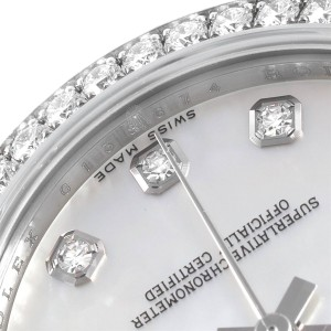 Rolex Datejust Midsize Steel White Gold MOP Diamond Ladies Watch 178384