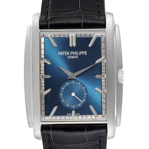 Patek Philippe Gondolo Small Seconds White Gold Blue Dial Mens Watch 5124