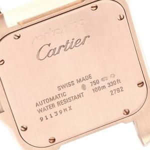 Cartier Santos 100 38mm Rose Gold Chocolate Dial Mens Watch W20127Y1