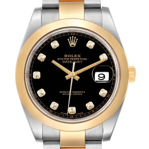 Rolex Datejust 41 Steel Yellow Gold Diamond Mens Watch 126303 Box Card