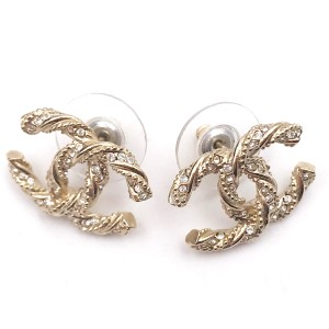 Chanel Gold Tone Hardware with Crystal CC Earrings