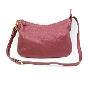 Fendi Bordeaux Selleria Hobo 870355 Burgundy Leather Messenger Bag