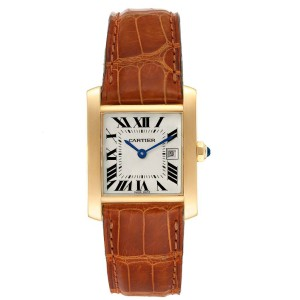 Cartier Tank Francaise Midsize Yellow Gold Brown Strap Watch W50014N2