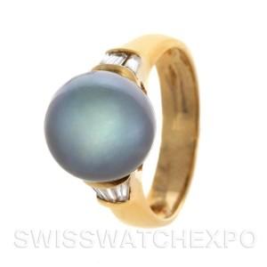 18k Yellow Gold Black Tahitian Cultured Pearl And Diamond Ring