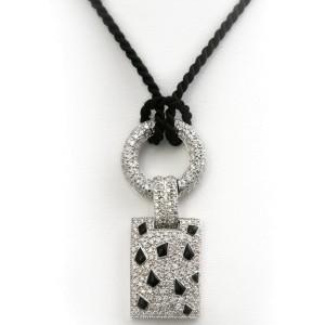 18k White Gold Black Onyx And Diamond Pendant