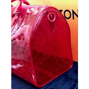 Louis Vuitton Keepall Rgb Clear Ss19 Virgil Abloh Bandouliere 50 870439 Red Pvc Weekend/Travel Bag