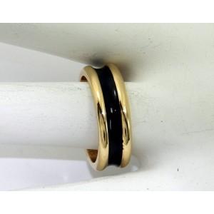 Tiffany & Co.18K Yellow Gold Black Enamel Band