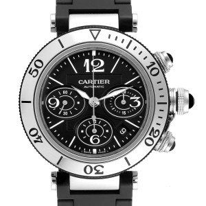 Cartier Pasha Seatimer Chronograph Rubber Strap Watch W31088U2 Box