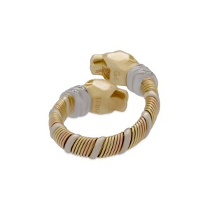 Cartier Double Panther Crossover Ring 18K Yellow, White and Rose Gold With 0.18ctw Diamond Size 5.75