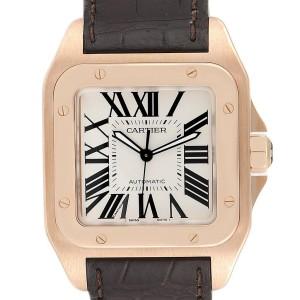 Cartier Santos 100 XL Rose Gold Silver Dial Mens Watch W20095Y1