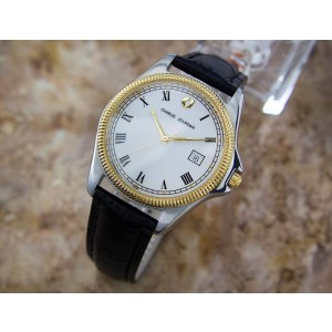 Charles Jourdan Gold Plated Stainless Steel & Leather Quartz 35mm Mens Watch