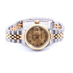 Rolex Datejust 18K Yellow Gold And Stainless Steel Champagne Roman Dial Jubilee Band 26mm Womens Watch