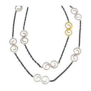 Gurhan 925 Sterling Silver Tri Tonal Long Necklace