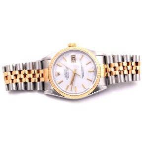 Rolex Datejust 18K Yellow Gold & Stainless Steel White Stick Marker Dial 36mm Mens Watch