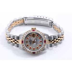 Rolex Datejust 18K/Stainless Steel Mother of Pearl Ruby Dial & Diamond - Ruby Bezel Automatic 26mm Womens Watch