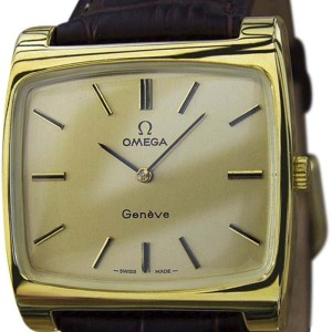 Omega Geneve Gold Plated / Leather 38mm Mens Watch