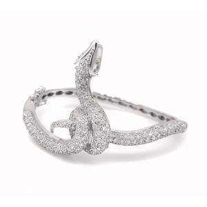 14k White Gold Diamond Snake Bangle Bracelet