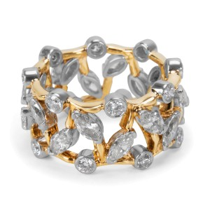 Tiffany & Co. Schlumberger Vigne 18K Yellow Gold and Platinum with 2.65ct. Diamond Ring Size 6.5