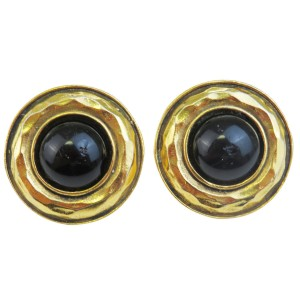 Chanel Gold Tone Hardware Clip-On Button Stone Earrings