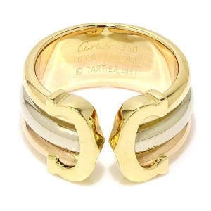 Cartier 18K Yellow, White & Pink Gold 2C Ring Size 4.5