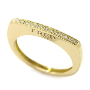 Fred 18K Yellow Gold with Diamond Success Ring Size 7.5