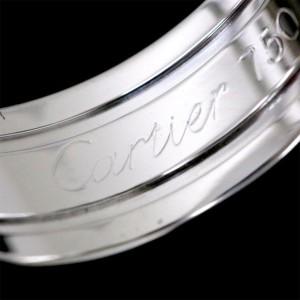 Cartier 18K White Gold 2C Logo Ring Size 3.75