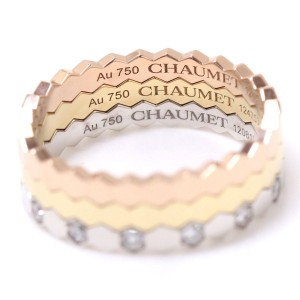 Chaumet 18K Yellow, White and Pink Gold with Diamond Be My Love Honeycomb Ring Size 7.5
