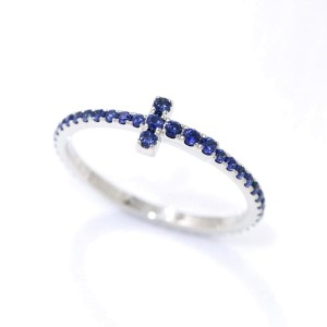 Tiffany Co. 18K White Gold with 0.33ctw. Sapphire T Wire Ring Size 4