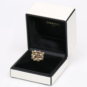 Chanel 18K Yellow Gold with Sapphire and Diamond Ring Size 6.5