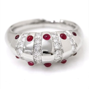 Christian Dior Platinum with Ruby & Diamond Ring Size 7