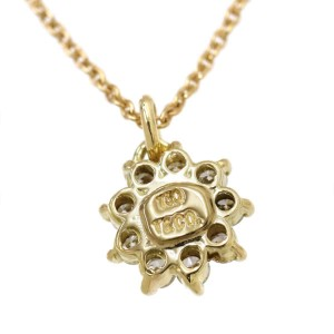 Tiffany & Co. 18K Yellow Gold with Diamond Flower Pendant Necklace