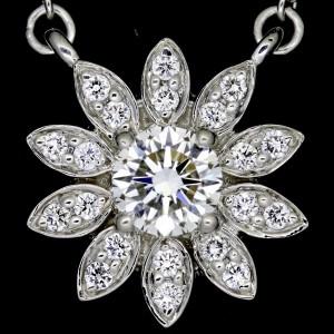 Tiffany & Co. Platinum with Diamond Flower Pendant Necklace