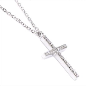 Tiffany & Co. 18K White Gold with Diamond Metro Cross Pendant Necklace