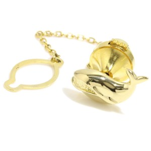 Mikimoto 18K Yellow Gold Whale Motif Tie Tack Pin Brooch