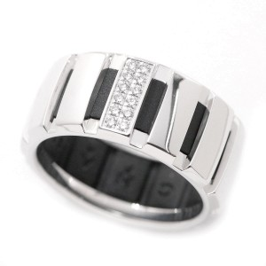 Chaumet 18K White Gold & Rubber Diamond Class One Ring Size 9
