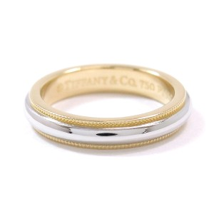 Tiffany & Co. 18K Yellow Gold & 950 Platinum Milgrain Ring Size 4