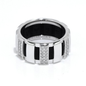 Chaumet 18K White Gold & Rubber Diamond Class One Ring Size 6.25