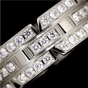 Cartier Tank Francaise 18K White Gold & Diamond Ring Size 4