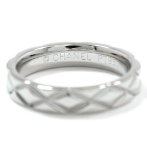 Chanel 950 Platinum Matelasse Ring Size 4.5