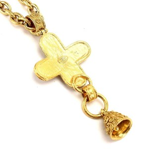 Chanel Gold Tone Hardware Cross CC Logos Bell Necklace