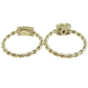Chanel CC Gold Tone Hardware with Simulated Glass Pearl Set of Two Ring Size 6.5