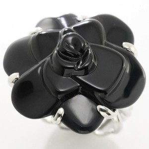 Chanel 18K White Gold with Onyx Camelia Ring Size 9