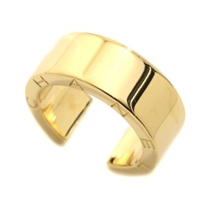 Chanel 18K Yellow Gold C Signature Wide Ring Size 4.5