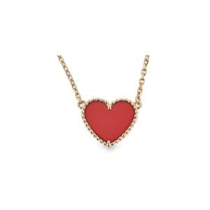 Van Cleef & Arpels 18K Yellow Gold Carnelian Heart Alhambra Necklace