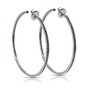 David Yurman 925 Sterling Silver with 2.00ctw Black Diamond Large Hoop Earrings