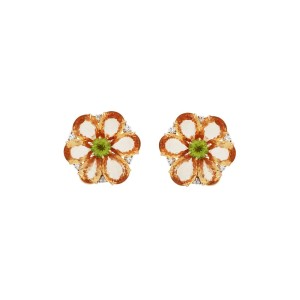 Bulgari 18K Yellow Gold Orange Sapphire Peridot & Diamond Earrings