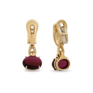 Bulgari 18K Yellow Gold Rubellite Diamond Earrings