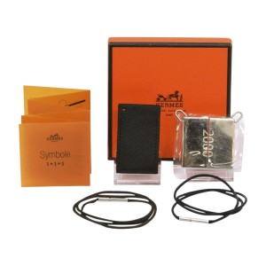 Hermes Stainless Steel and Leather Pair of Pendant Necklace