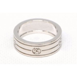 Gucci Interlocking 18K White Gold G Band Ring Size 5.5