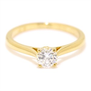 Cartier Solitaire Ring 18K Yellow Gold 0.35ctw Diamond Size 4